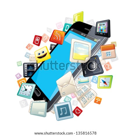 Mobile Smartphone with Software Apps Icons Around. Vector Concept - stock vector