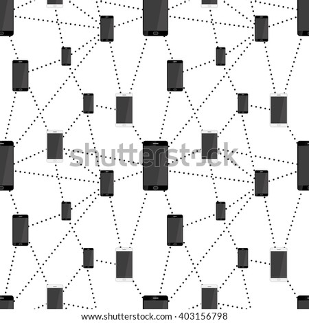 Mobile smartphones in black and white colors connected in network, seamless pattern - stock vector