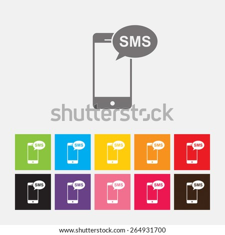 Mobile sms text message mail icon - Vector - stock vector