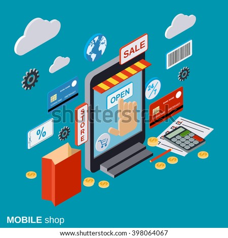 Mobile store, online shopping, distant trade, e-commerce flat isometric vector concept.  Modern web design infographics