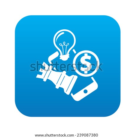 Mobile strategy on blue flat button,clean vector - stock vector