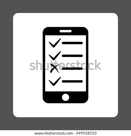 Mobile Test vector icon. Style is flat rounded square button, black and white colors, gray background. - stock vector