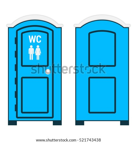 Mobile toilet isolated on white  Vector illustration  Front and back views   Blue plastic. Bio toilet Stock Images  Royalty Free Images   Vectors   Shutterstock