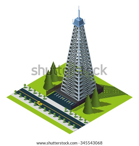 Mobile tower illustration. Isometric icon.  - stock vector