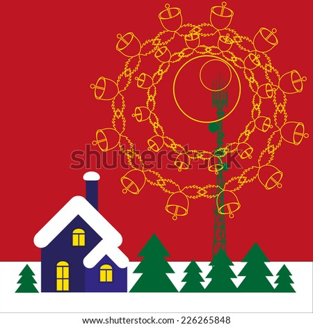 Mobile tower transmits christmas song into the home - stock vector