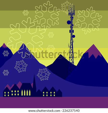 Mobile tower transmits snowflakes into the northern city - stock vector