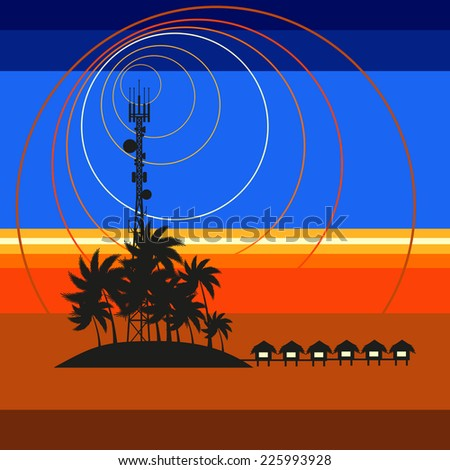 Mobile tower transmits sunset from Maldives - stock vector
