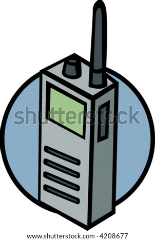 mobile two-way radio transceiver - stock vector
