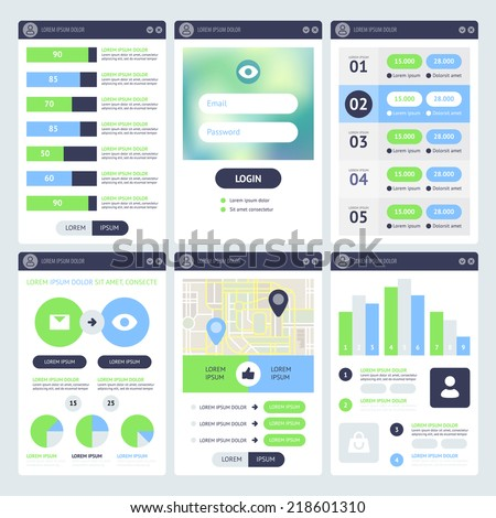 Mobile UI Design. Flat vector eps 10. - stock vector