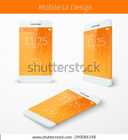 Mobile user application interface concept with orange wallpaper smartphone screen presentation. Vector illustration - stock vector