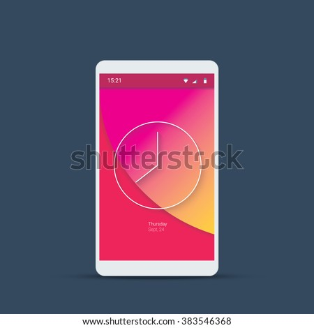 Mobile user interface login screen. Smartphone icons for account and password with material design vector background in pink color. Eps10 vector illustration. - stock vector