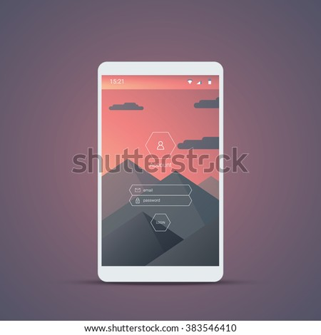 Mobile user interface login screen. Smartphone icons for account and password with mountains landscape vector background. Eps10 vector illustration. - stock vector