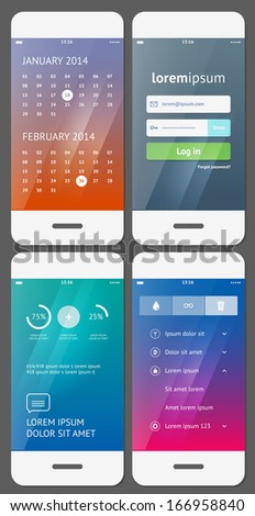 Mobile user interface template - Stock Vector - stock vector