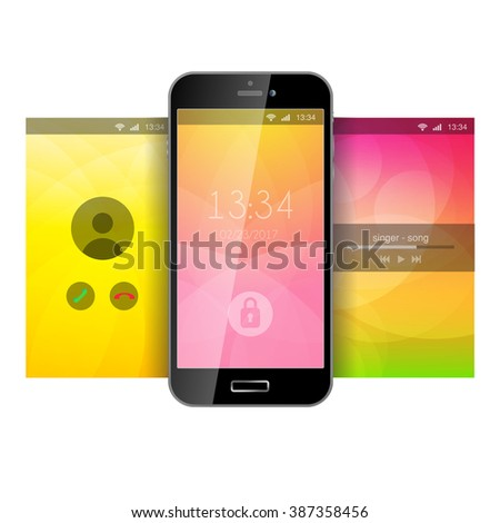 Mobile wallpaper app application lockscreen lock stock vector mobile wallpaper app application lockscreen lock screen incoming call music playback background template mockup voltagebd Image collections