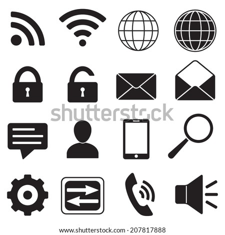 Mobile, web, media and communication icons set. Vector contact Icons for internet and mobile apps.  Black silhouette  on white background. - stock vector