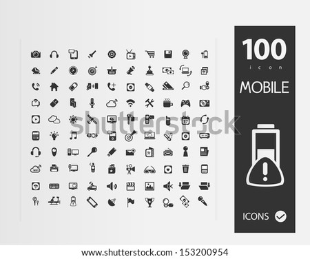 Mobile Web Social Icons (set of 1 00 Quality icon ) - stock vector