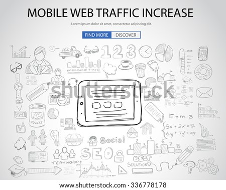 Mobile web traffic concept with Doodle design style :internet connections, web analysis, www statistics .Modern style illustration for web banners, brochure and flyers. - stock vector