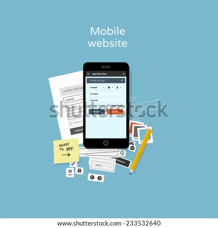 Mobile website development - flat design illustration - stock vector