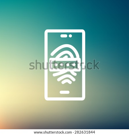 Mobile wifi icon thin line for web and mobile, modern minimalistic flat design. Vector white icon on gradient mesh background. - stock vector