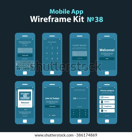 mobile wireframe app ui kit 38 stock vector 386174869 shutterstock. Black Bedroom Furniture Sets. Home Design Ideas