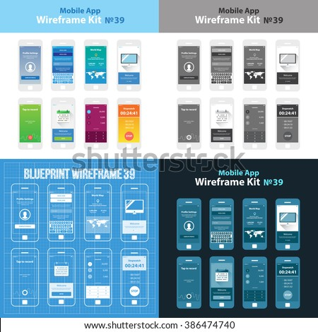 Mobile wireframe app ui kit 39 stock vector 386474740 shutterstock mobile wireframe app ui kit 39 profile settings screen social login screen world gumiabroncs Gallery