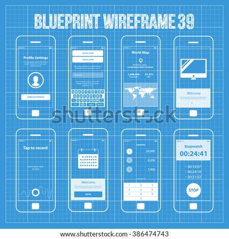Mobile wireframe app ui kit 39 stock vector 386474743 shutterstock mobile wireframe app ui kit 39 profile settings screen social login screen world malvernweather Image collections