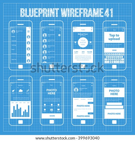 Mobile application interface concept vector illustration vectores en mobile wireframe app ui kit 41 sidebar menu screen friends list screen profile malvernweather Choice Image