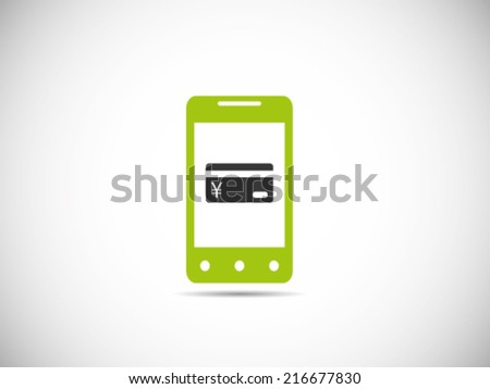 Mobile Yen Credit Card Payment - stock vector