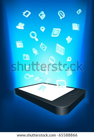 Mobility communication applications. Conceptual vector illustration. Elements are layered separately in vector file. - stock vector
