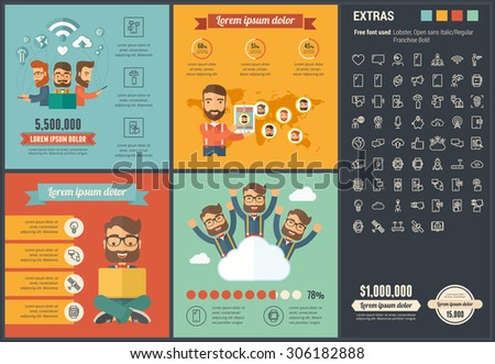 Mobility infographic template and elements. The infographic  template includes illustrations of hipster men and huge awesome set of thin line icons. Modern minimalistic flat vector infographic design. - stock vector