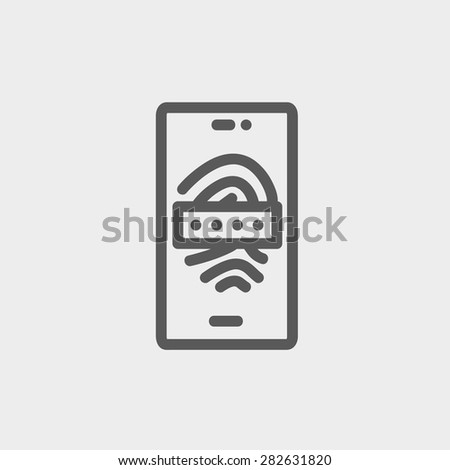 Mobille wifi icon thin line for web and mobile, modern minimalistic flat design. Vector dark grey icon on light grey background. - stock vector