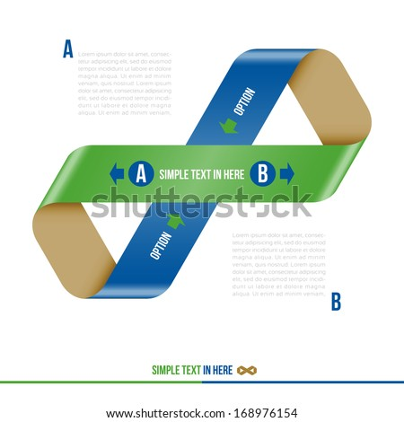 Mobius strip of paper. Vector option info-graphic. EPS 10. RGB. All effects are created with simple gradients, no transparency, no mesh.  File is layered with global colors.  - stock vector