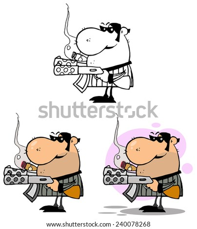 Mobster Holding Two Machine Guns And Smoking A Cigar. Vector Collection Set - stock vector