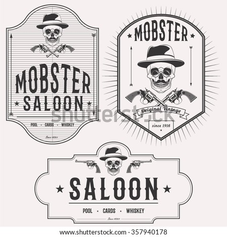 Mobster saloon isolated logo set emblems, badges and design elements on white background - stock vector