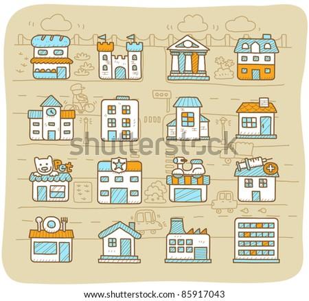 Mocha Series | european houses, buildings,store ,travel icons, - stock vector