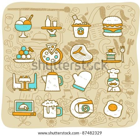 Mocha Series    restaurant,food, icon set - stock vector