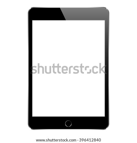 mock up black tablet isolated on white vector design - stock vector