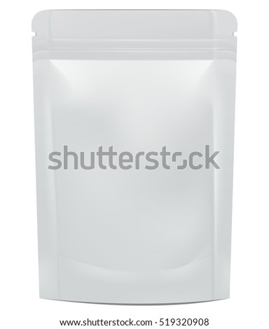 Mock up blank foil food or drink doypack. Illustration isolated on white background. Graphic concept for your design