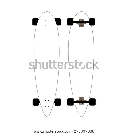 mock-up for longboards. Mock up for white longboards with black wheels. isolated vector illustrations on white. - stock vector