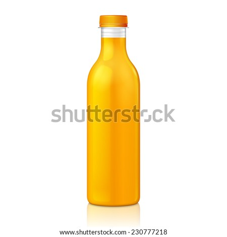 Mock Up Juice Glass Plastic Yellow Orange Bottle On White Background Isolated. Ready For Your Design. Product Packing. Vector EPS10  - stock vector