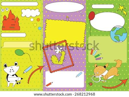 Mock up of leaflet for children's invitation card - stock vector