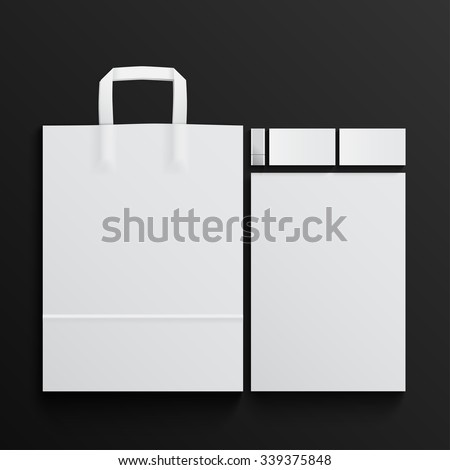 Mock-up of White branding elements on black background