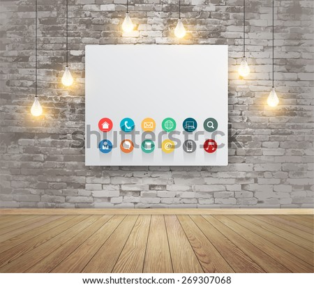 Mock up poster with lamps, Modern workspace with technology business flat icons, Vector illustration modern template design - stock vector
