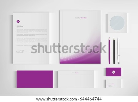 Mock up set business brand template of stationery. vector design.