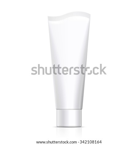 Mock Up Tube Of Cream Or Gel Grayscale White Clean. Products On White Background Isolated. Ready For Your Design. Product Packing. Vector EPS10  - stock vector