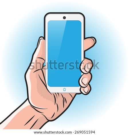 Mock up with White Smartphone in Hand - stock vector
