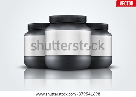 Mockup Background of Sport Nutrition Container. Black Plastic Whey Protein and Gainer. Vector Illustration isolated on white background - stock vector