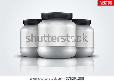 Mockup Background of Sport Nutrition Container. Silver Plastic Whey Protein and Gainer. Vector Illustration isolated on white background - stock vector