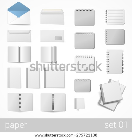 Mockup corporate identity stationery sticker branding template vector. Empty background isolated paper envelope object set. Stylish modern business mock-up collection.