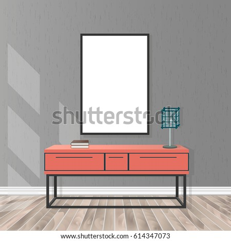 Mockup living room interior in hipster style with empty frame, bureau, lamp, parquet flooring, concrete wall and sunlight from the window. Loft design concept. Vector illustration..